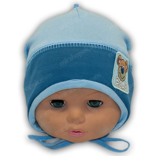 Дитяча трикотажна шапочка на зав'язках