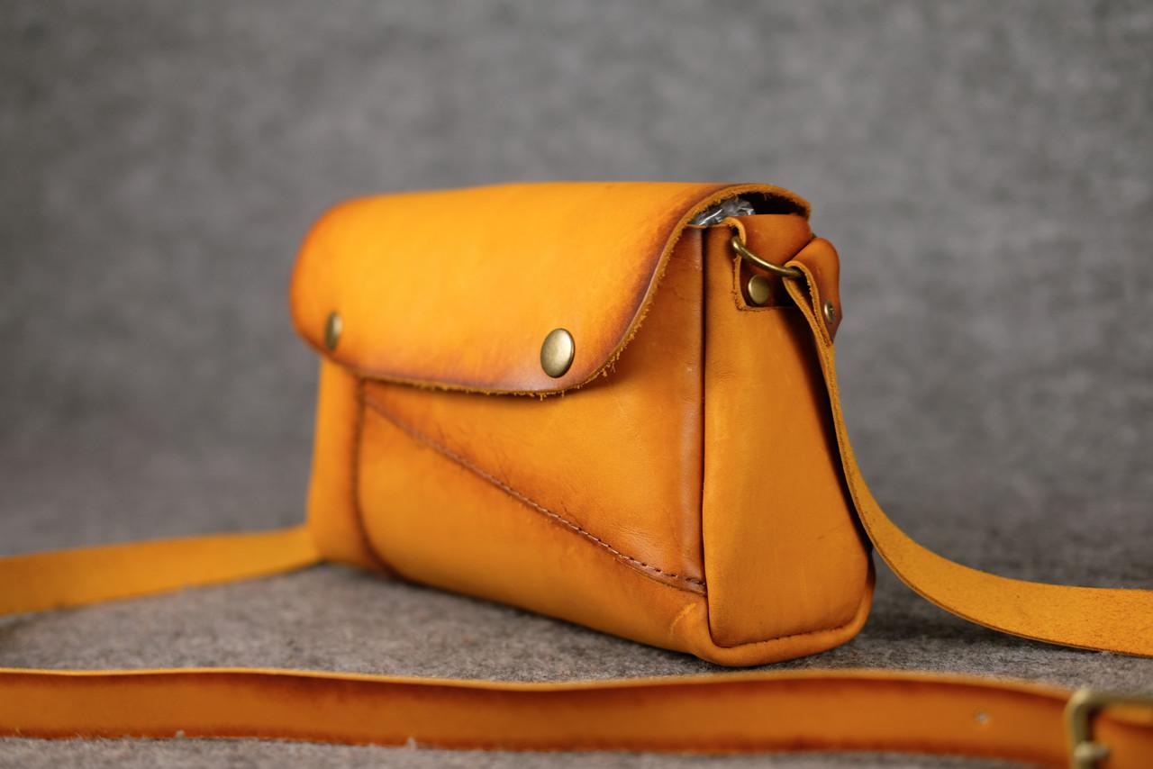 Женская сумка Френки Кожа Итальянский краст цвет Янтарь
