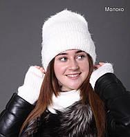 076 Шапка Эмили. Пушистая шапка с длинным ворсом и отворотом, на флисе. р. 55-58. Разные цвета, фото 1