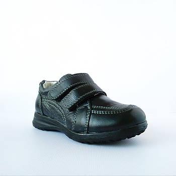Туфли-кроссовки из натуральной кожи мальчикам,  р. 26, 27, 28, 29. Черные, демисезонные