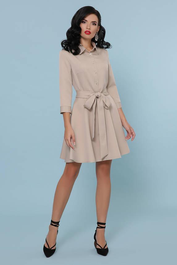 Расклешенное платье рубашка короткое бежевое, фото 2