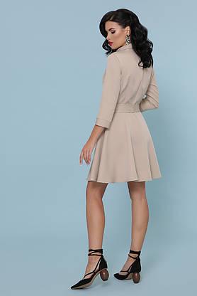 Расклешенное платье рубашка короткое бежевое, фото 3