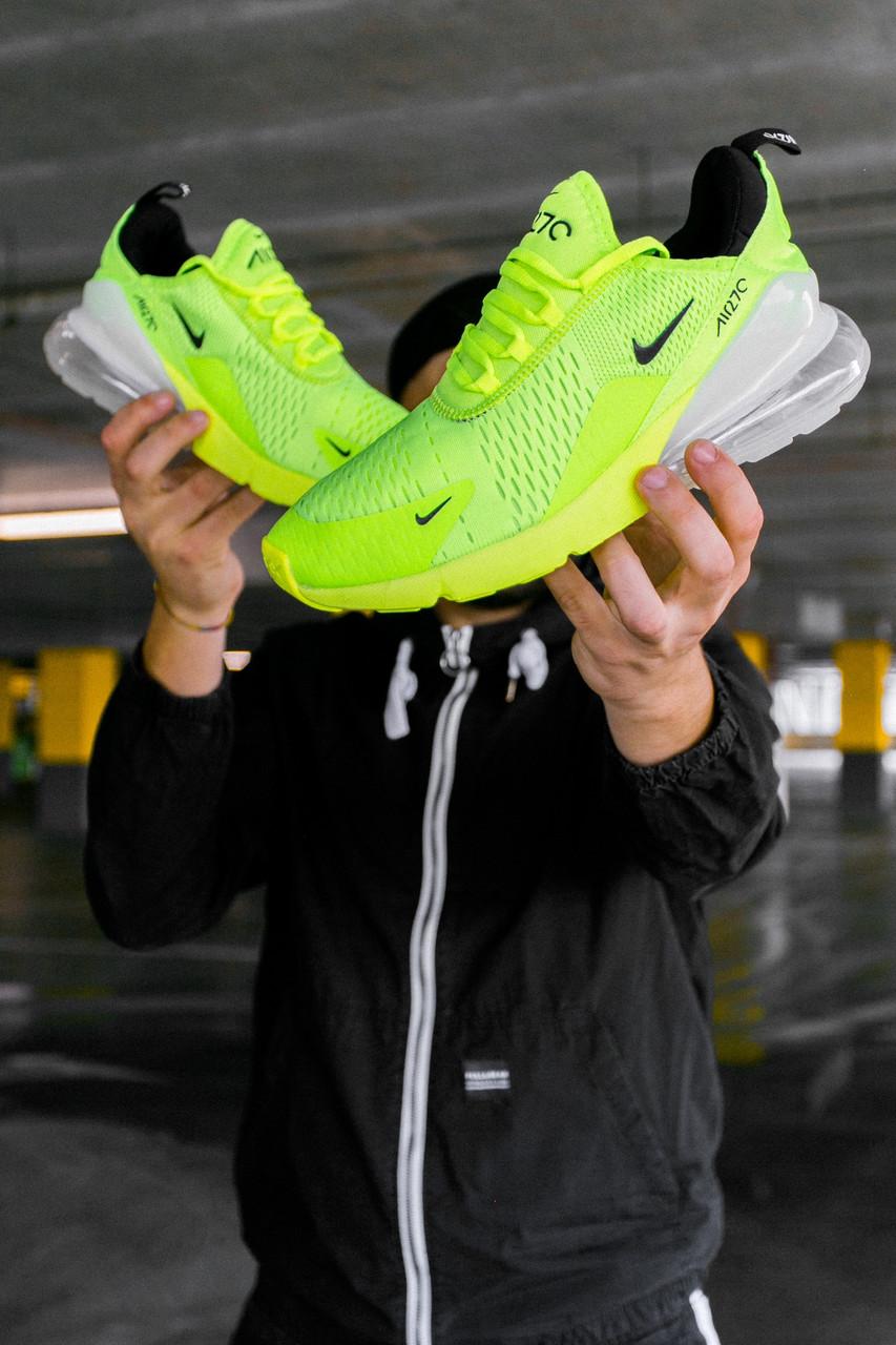 Мужские кроссовки Nike Air Max 270 GreenNeon/White , Реплика
