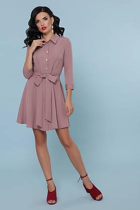 Расклешенное платье рубашка короткое цвета пудра, фото 2