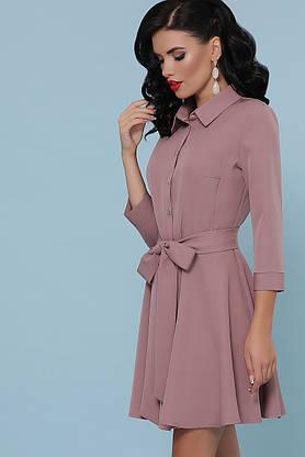 Расклешенное платье рубашка короткое цвета пудра, фото 3