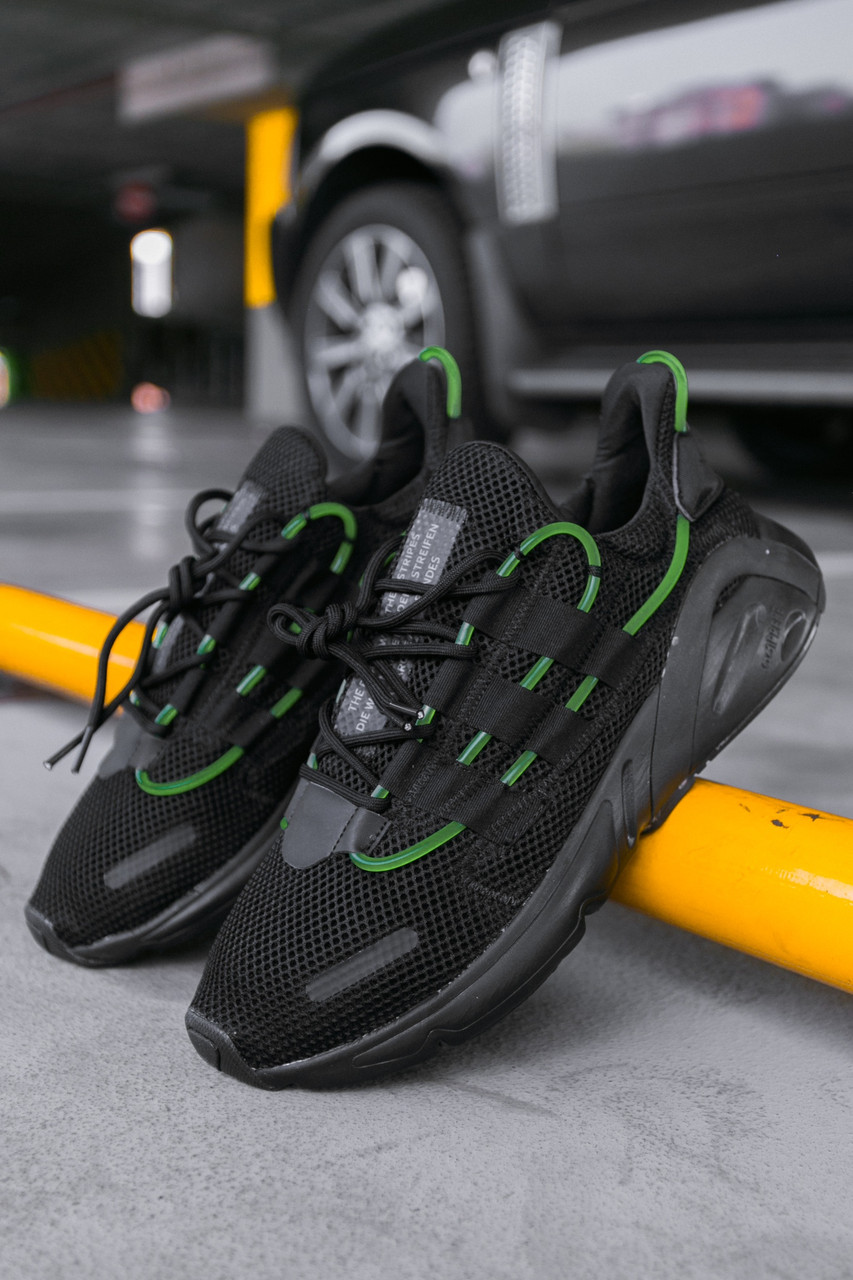 """Чоловічі кросівки Adidas Lexicon """"Black/Green"""", Репліка"""