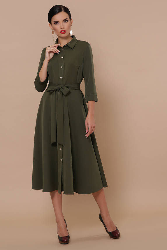 Платье рубашка с юбкой солнце клеш цвета хаки, фото 2