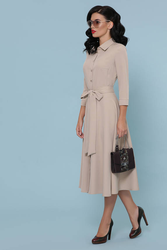 Платье рубашка с юбкой солнце клеш бежевое, фото 2