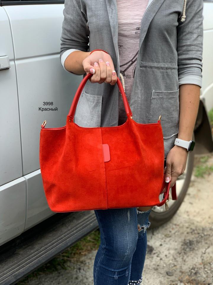 Женская сумочка Натуральная замша и экокожа (гладкая) Турция