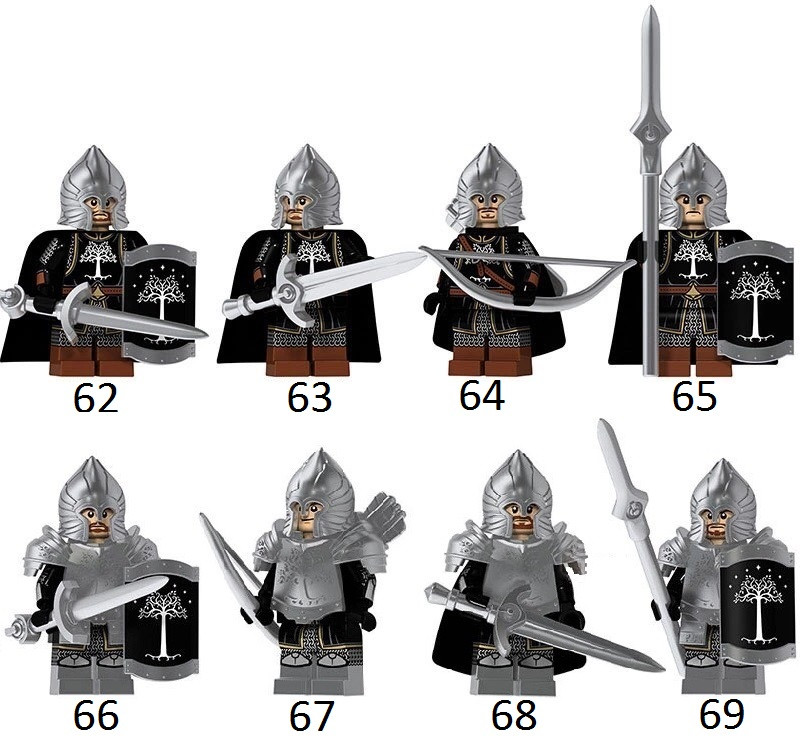 Властелин колец Lord of the Rings мини-фигурки Лего Lego Рыцари Солдаты Гондора