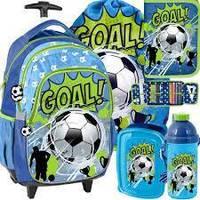 Школьный рюкзак  на колесиках PASO Football + набор 5