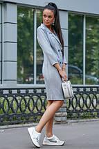 Классическое платье-пиджак до колен с пуговицами цвет голубой, фото 3