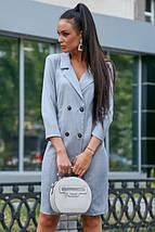 Классическое платье-пиджак до колен с пуговицами цвет голубой, фото 2