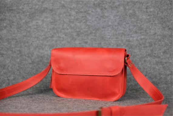 """Женская сумка """"Модель №25"""" Винтажная кожа цвет Красный"""