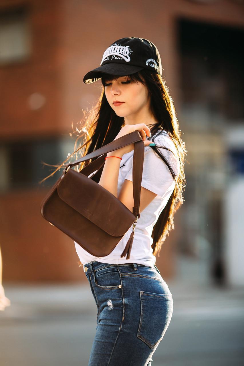 Сумка жіноча. Шкіряна сумочка Берті Вінтажна шкіра колір Шоколад