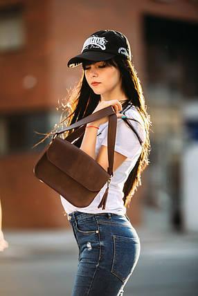 Сумка жіноча. Шкіряна сумочка Берті Вінтажна шкіра колір Шоколад, фото 2