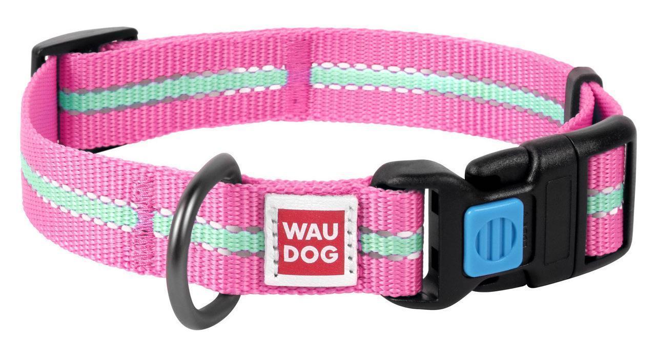 Нашийник 31-49 см 25 мм (світиться в темряві) Waudog Nylon (Ваудог Нейлон) світлонакопичувальний для собак
