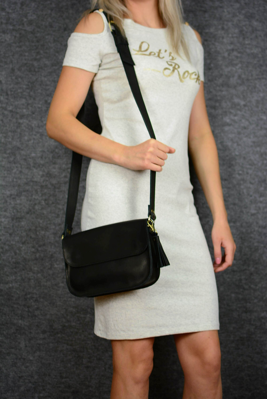 Сумка женская. Кожаная сумочка Берти Кожа Итальянский краст цвет Черный