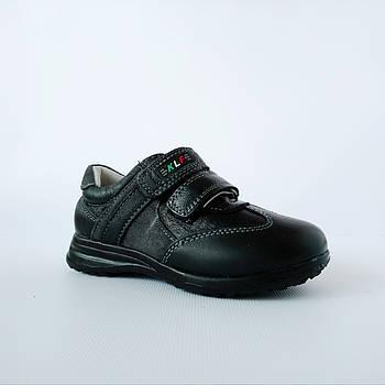 Туфли-кроссовки из натуральной кожи мальчикам,  р. 26-31. Черные, демисезонные