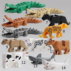 Фигурки животных  Тигр,Лев,Пантера,Крокодил,Корова,Акула Duplo animal Дупло лего Lego