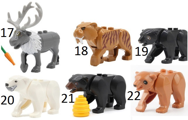 Фигурки животных  Лось,Медведь,тигр  Duplo animal Дупло лего Lego