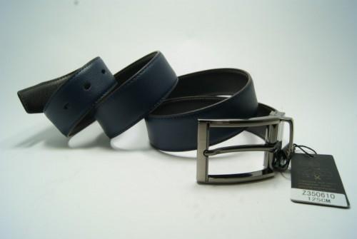 Ремень мужской кожаный двухсторонний (черно-синий) ALON