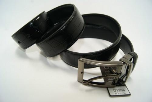 Ремень мужской кожаный двухсторонний (черный-черный) ALON