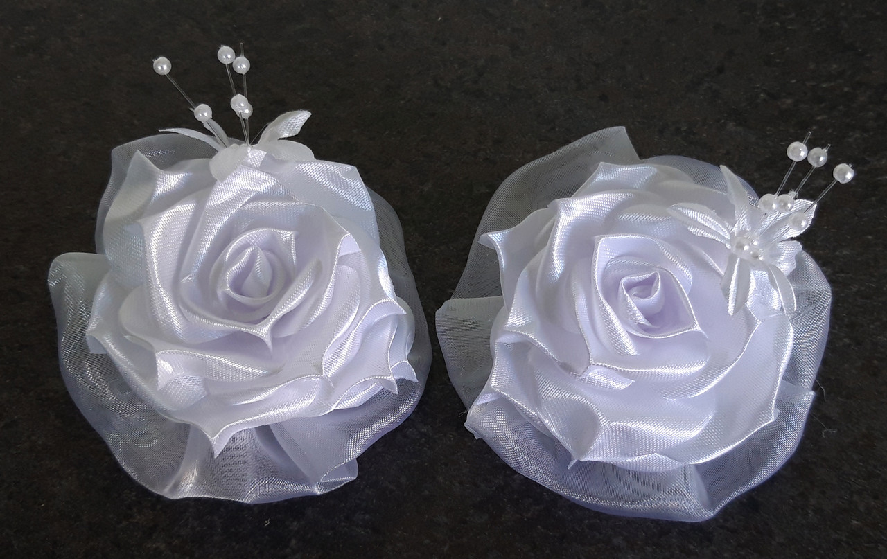 Банты ручной работы на резинке, белая роза, диаметр 7,5 см