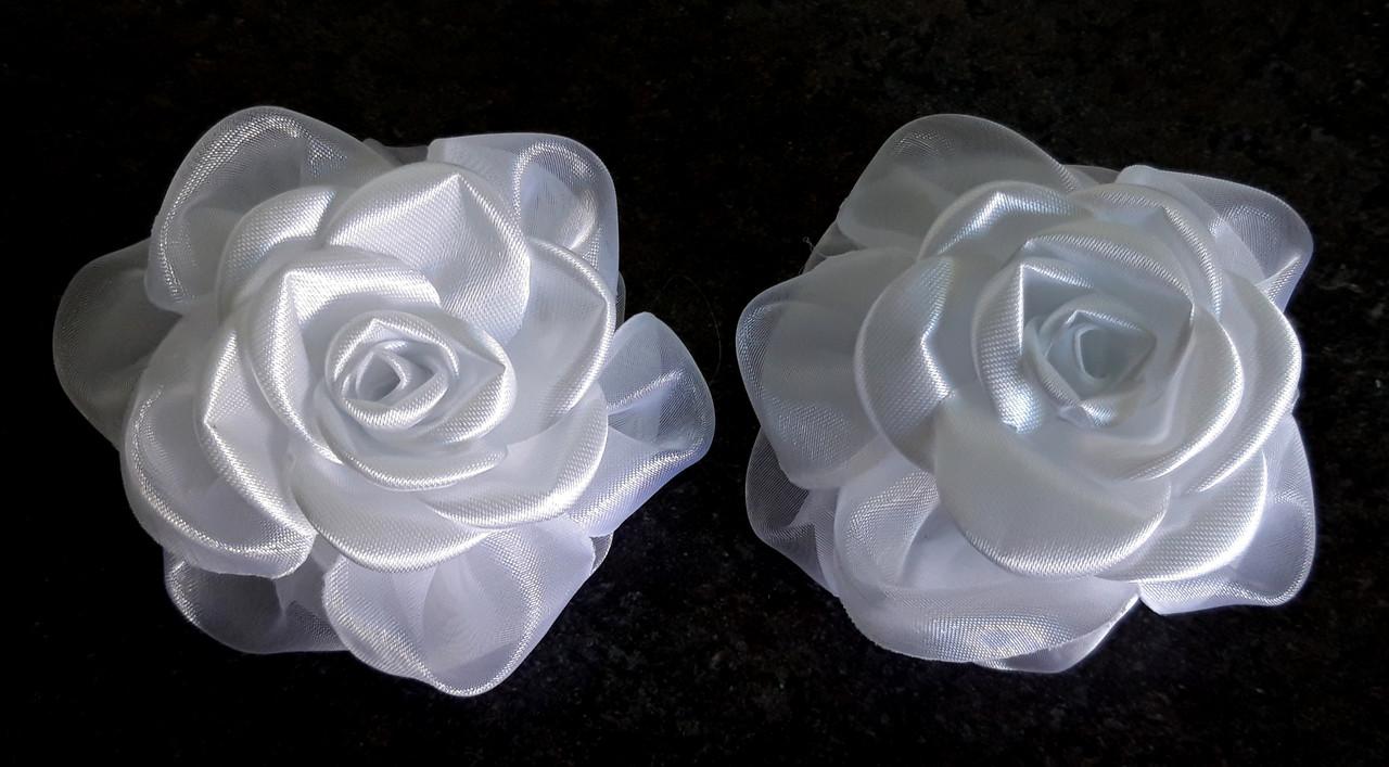 Банты ручной работы на резинке, нежная роза, диаметр 7,5 см