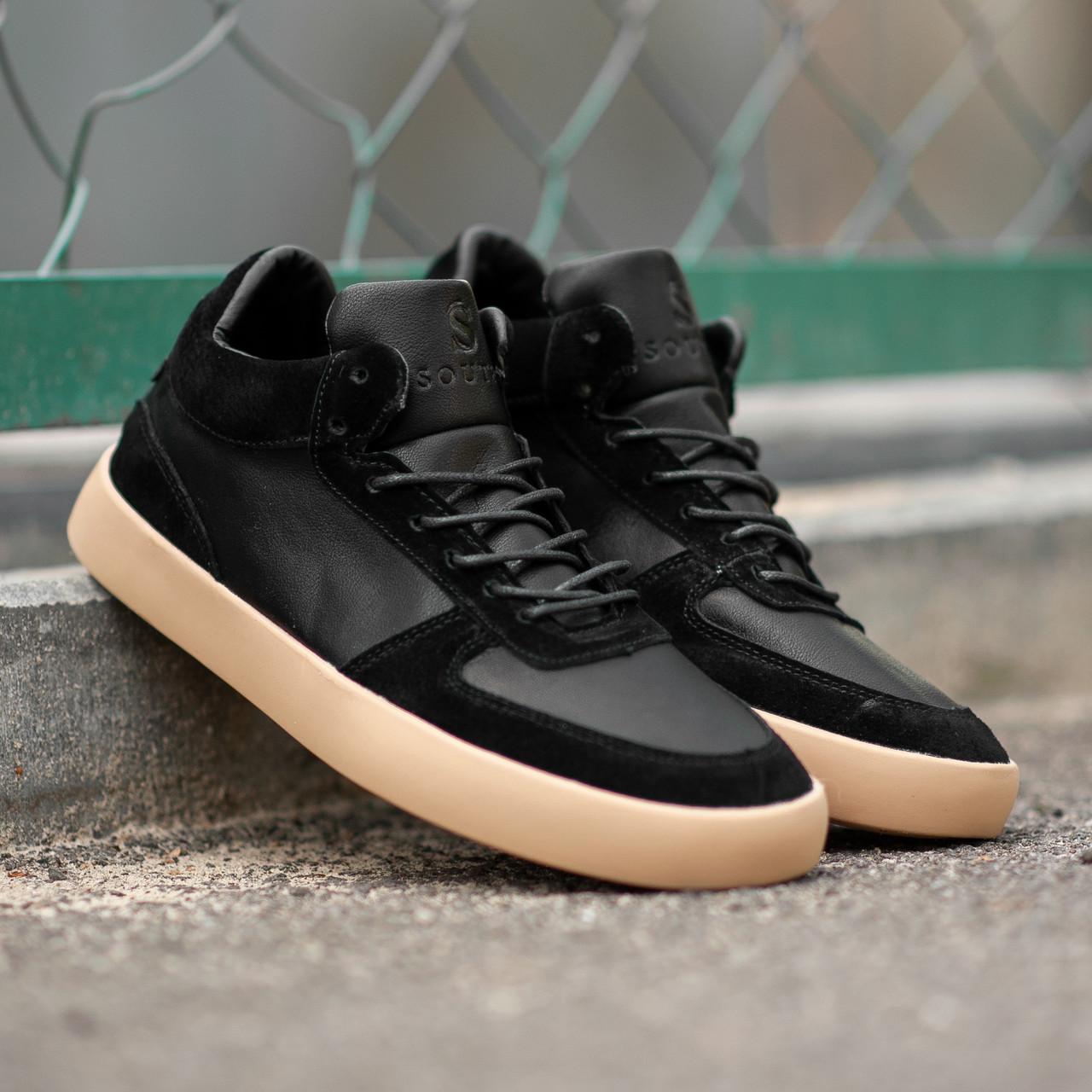 Мужские кроссовки South Wild black. Натуральная замша, кожа