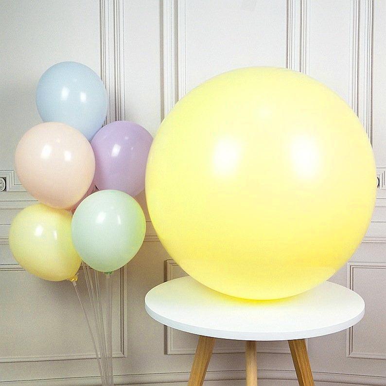 """Воздушные шары гиганты """"Macaron"""". Цвет: Жёлтый. Размер: 36""""(90см). Пр-во: Китай."""