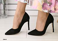 Туфли Лодочка из натурального велюра черные на шпильке, фото 1