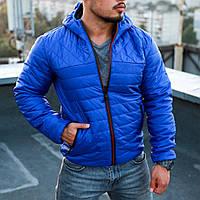 Куртка мужская осенняя весенняя синяя с капюшоном Турция. Живое фото (весенняя куртка)