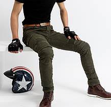 Мотоджинсы хаки олива с боковыми карманами KOMINE в комплекте вставная Защита коленей и бёдер, фото 3