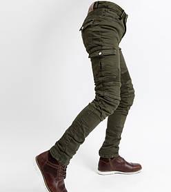 Мотоджинсы хаки олива с боковыми карманами KOMINE в комплекте вставная Защита коленей и бёдер