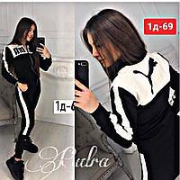 Женский спортивный костюм весна-осень Puma змейка (42 44 46 48) (цвет черный) СП