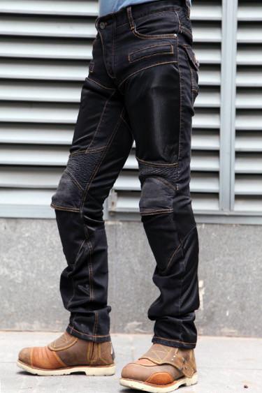 Черные дышащие летние Мото джинсы со съемной защитой на коленей и бёдер KOMINE RJP-Slim Kevlar Pk-719