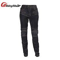 Черные дышащие летние Мото джинсы со съемной защитой на коленей и бёдер KOMINE RJP-Slim Kevlar Pk-719, фото 3