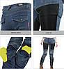 Черные дышащие летние Мото джинсы со съемной защитой на коленей и бёдер KOMINE RJP-Slim Kevlar Pk-719, фото 2