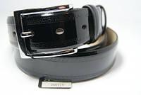 Ремень мужской кожаный лаковый (черный) ALON