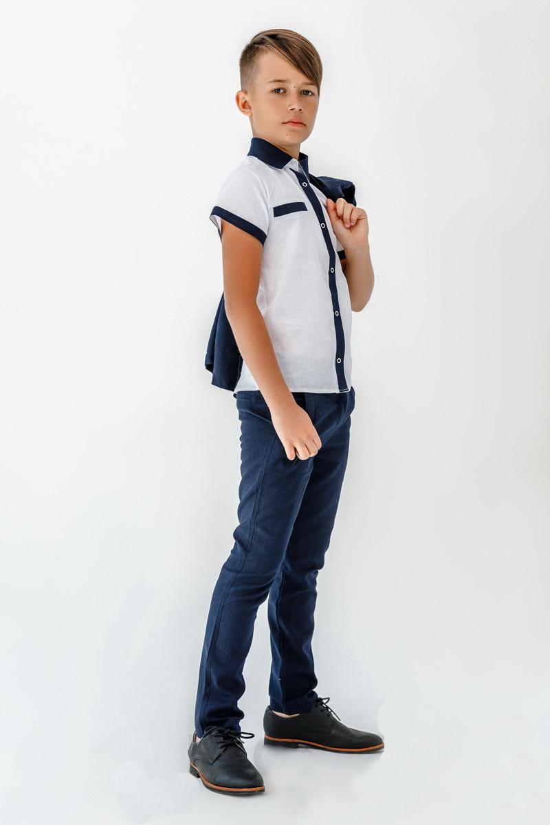 Костюм для мальчика классический тройка лен, размеры на рост 116 - 152