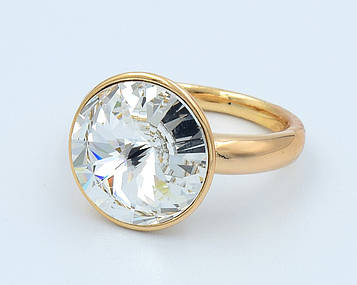 XUPING Кольцо Позолота 18к камень Swarovski Ширина 1.6см, Размер 17,18