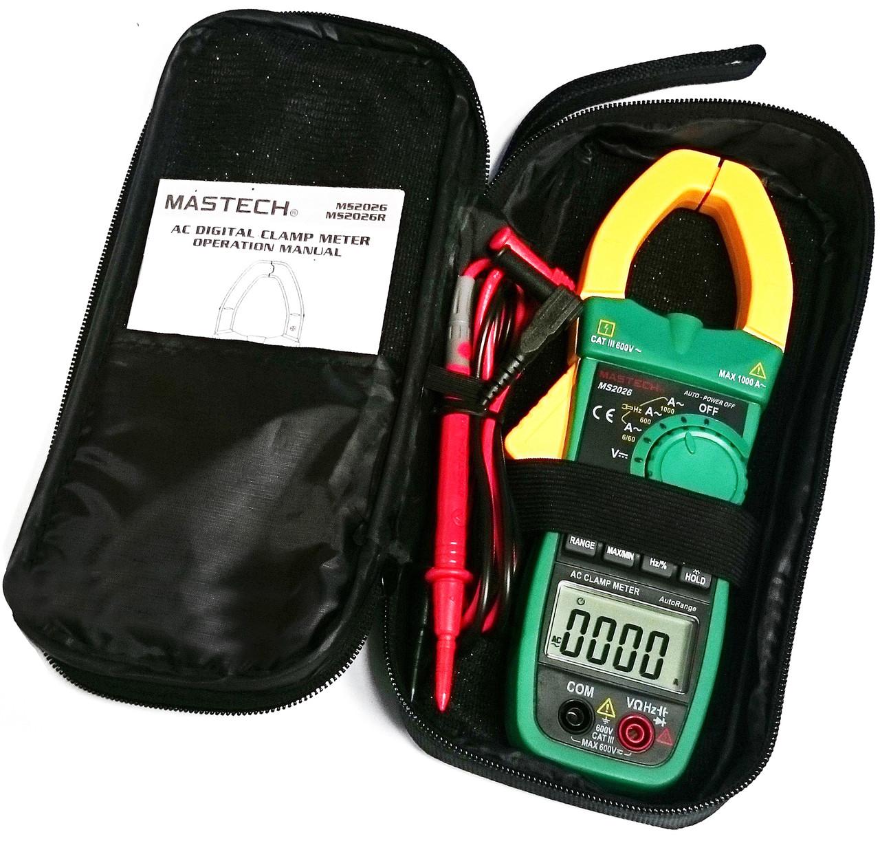 Токоизмерительные токовые клещи Mastech MS2026 + мультиметр
