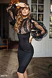 Черное эффектное платье с оборками, фото 2