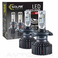 Автолампы Solar LED H4 12/24V 6000K 8000Lm 60W Philips ZES (к-т 2шт)