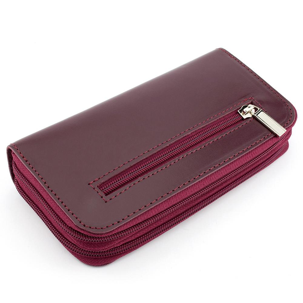 Жіночий шкіряний гаманець на блискавці подвійний Varvara (бордовий)