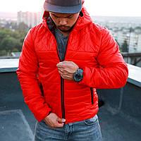 Куртка мужская демисезонная красная с капюшоном до 0* С / осенняя весенняя