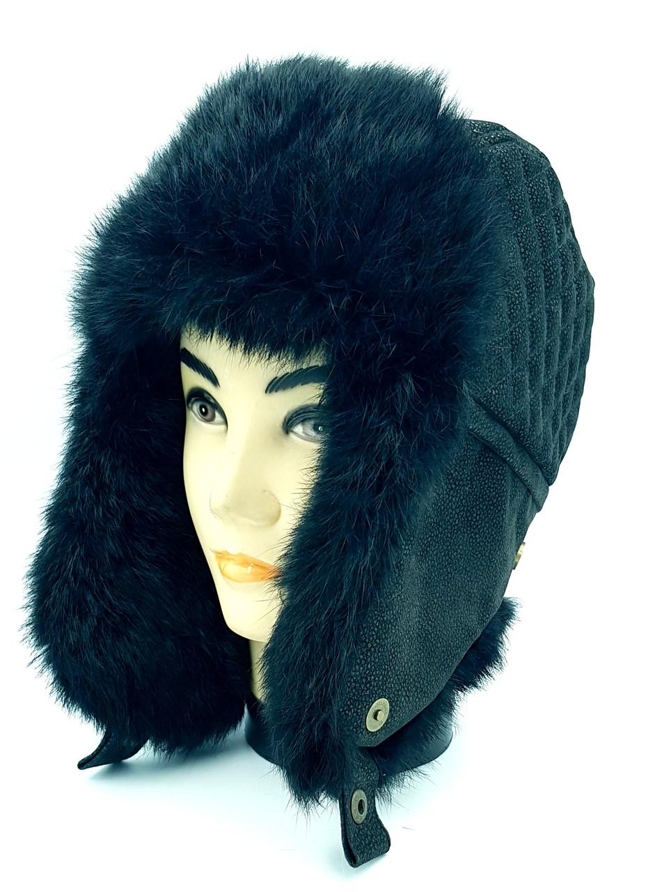 Зимняя мужская шапка-ушанка Klaus Krec 58-60 Чёрная ( 09/30)