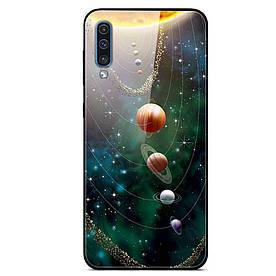 Чехол накладка для Samsung Galaxy A50 A505FD с зеркальной поверхностью, Planets