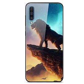 Чехол силиконовый для Samsung Galaxy A50 A505FD с зеркальной поверхностью из закаленного стекла, Король Лев